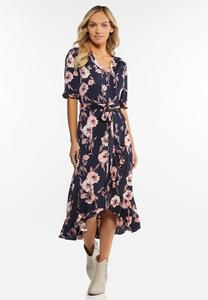 Plus Size Floral Tie Waist Midi Dress