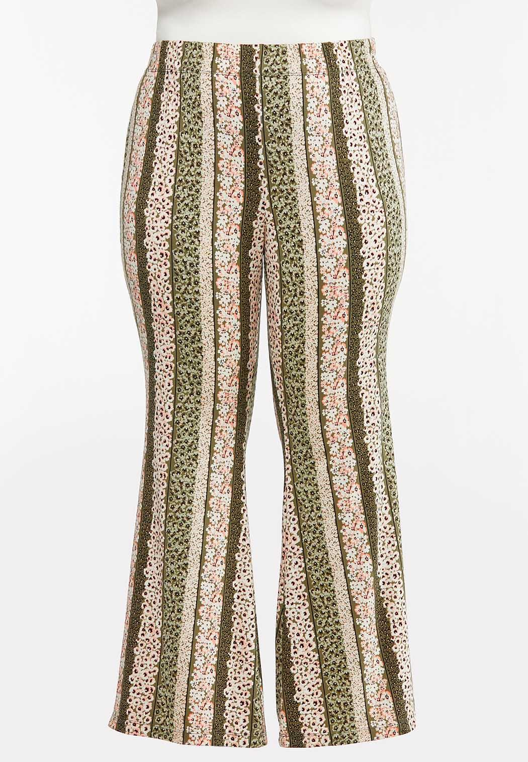 Plus Size Stripe Floral Flare Pants