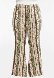 Plus Size Stripe Floral Flare Pants