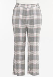 Plus Size Lavender Plaid Trouser Pants