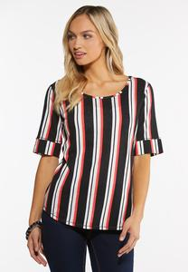 Striped Elbow Sleeve Top