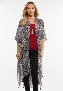Leopard Mixed Print Kimono