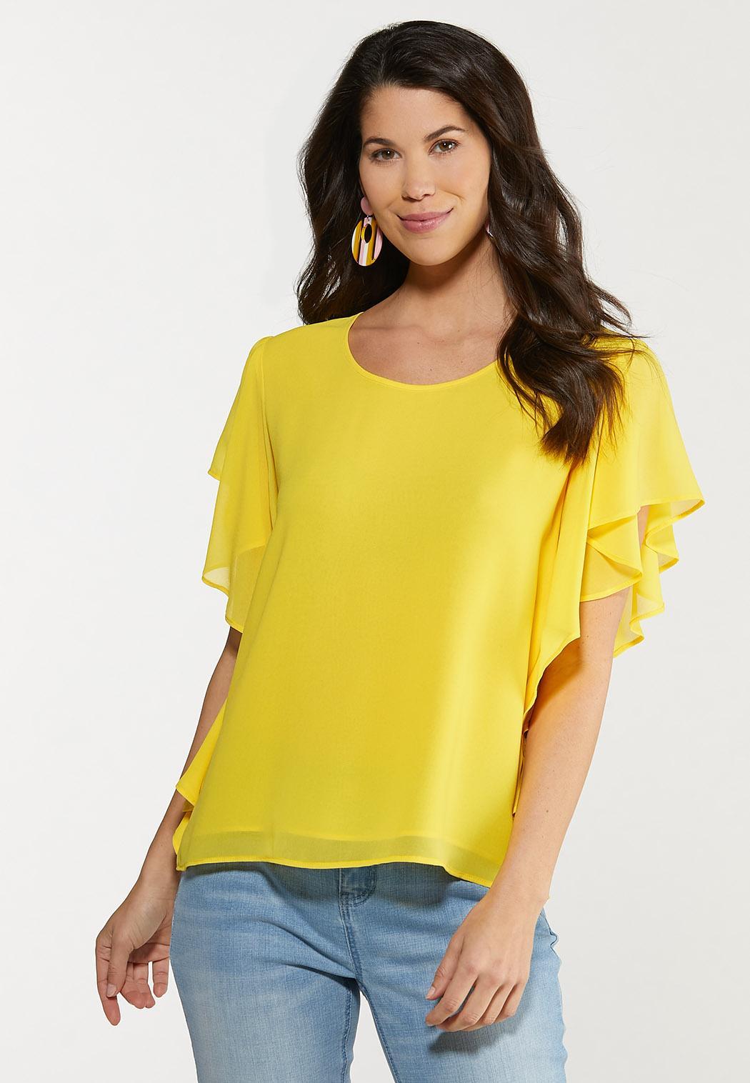 Plus Size Flutter Sleeve Top