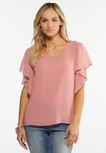 Plus Size Flutter Sleeve Top