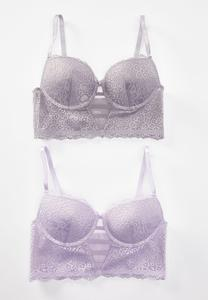 Plus Size Lavender Lace Bra Set