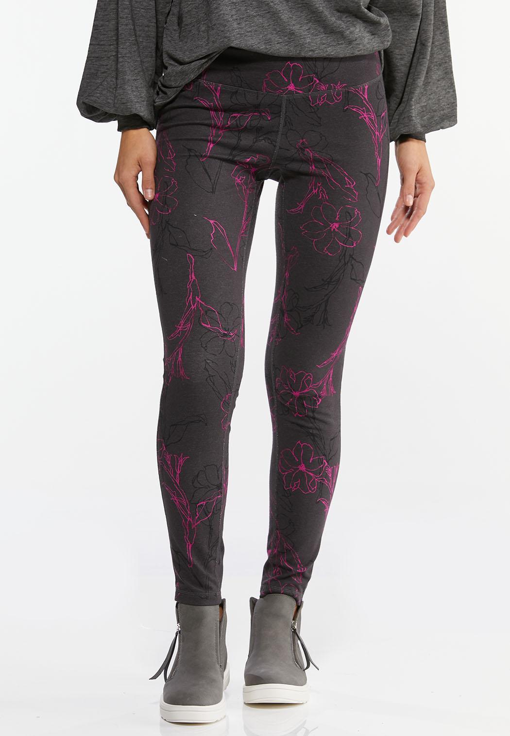 Purple Sketch Floral Leggings
