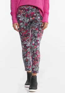 Fuchsia Sketch Floral Leggings