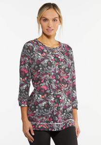 Fuchsia Floral French Terry Top