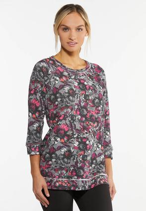 Plus Size Fuchsia Floral French Terry Top