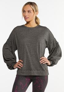 Plus Size Balloon Sleeve Gray Wash Top