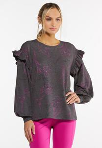 Floral Ruffled Trim Sweatshirt