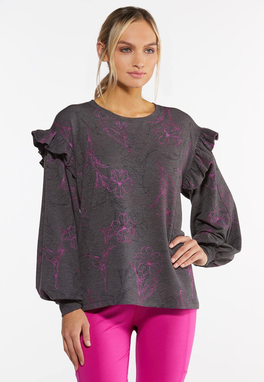 Plus Size Floral Ruffled Trim Sweatshirt