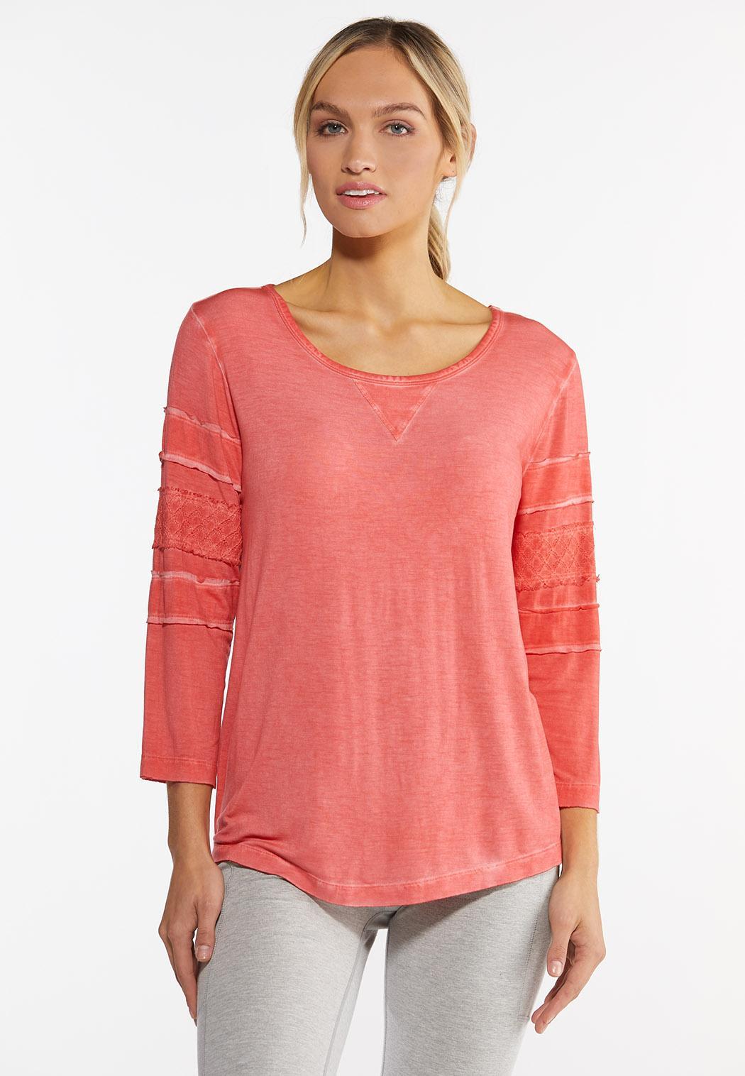 Orange Crochet Sleeve Top