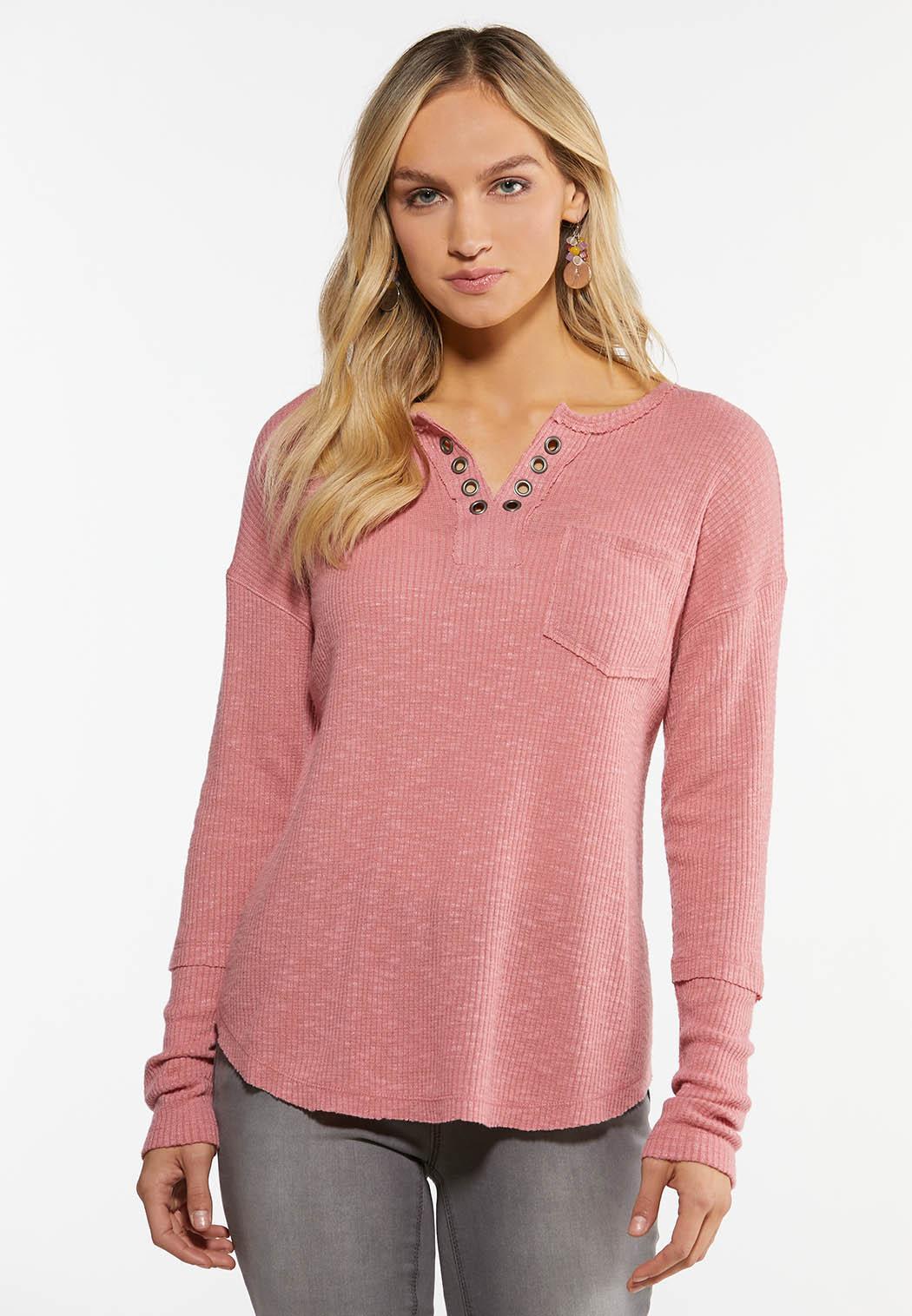 Plus Size Rose Grommet V-Neck  Top