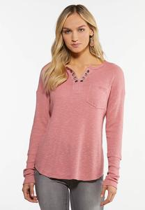 Plus Size Rose Grommet V-Neck  Top