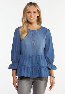 Plus Size Tiered Chambray Top