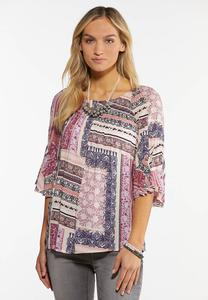 Plus Size Berry Patchwork Top