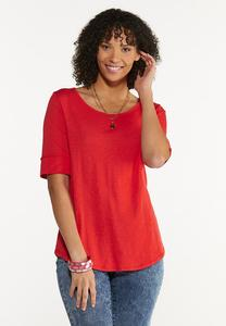 Solid Elbow Sleeve Top