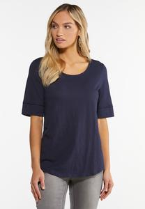 Plus Size Solid Elbow Sleeve Top