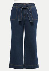 Plus Size Belted Wide Leg Jeans