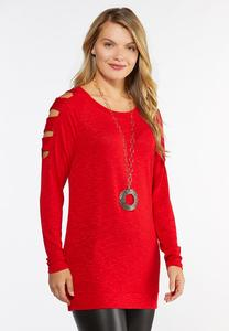 Plus Size Red Ladder Sleeve Top