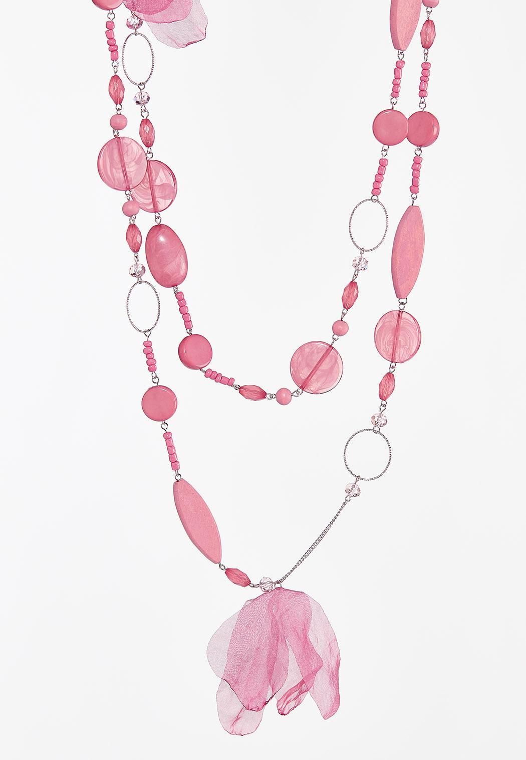 Beaded Pink Chiffon Layered Necklace