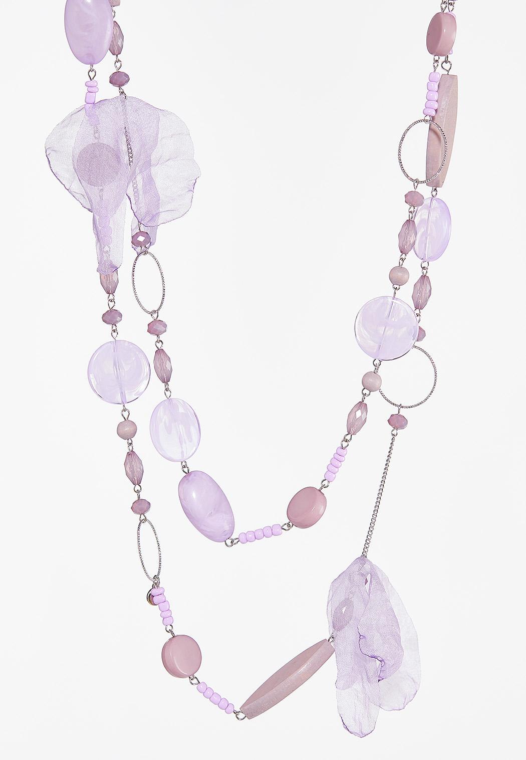 Beaded Chiffon Petal Layered Necklace