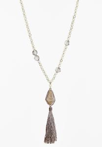 Beaded Fabric Tassel Necklace