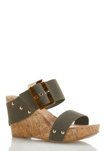 Tort Buckle Cork Wedges