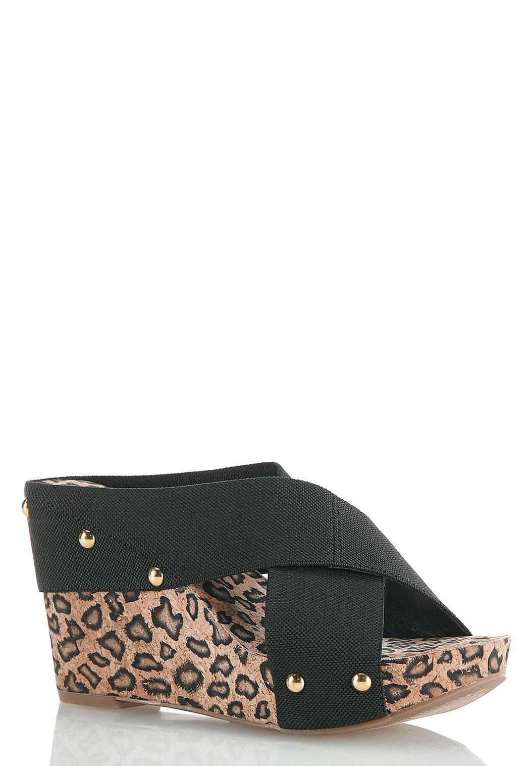 Crossband Leopard Cork Wedges