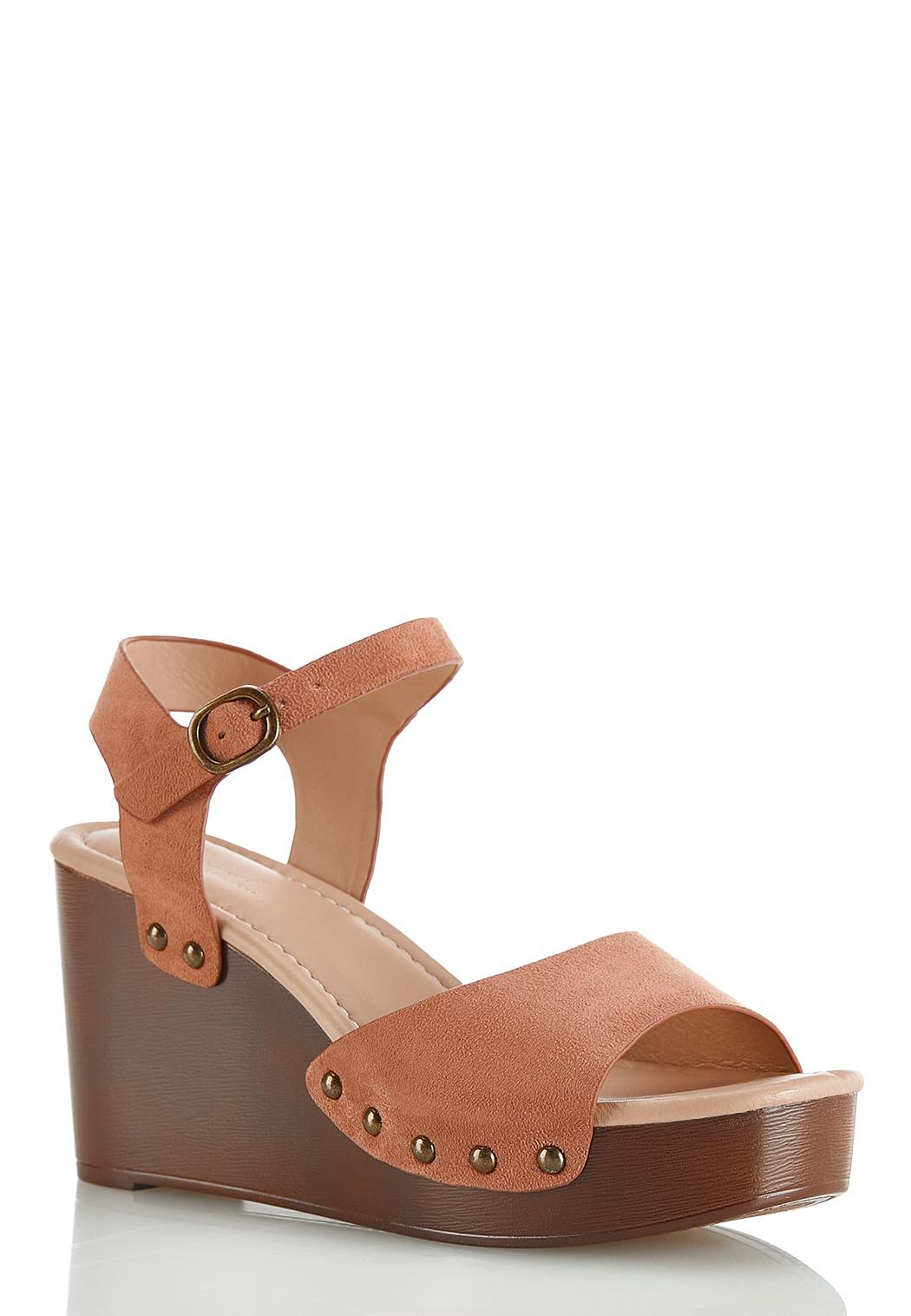 Rose Faux Suede Wedge Sandals