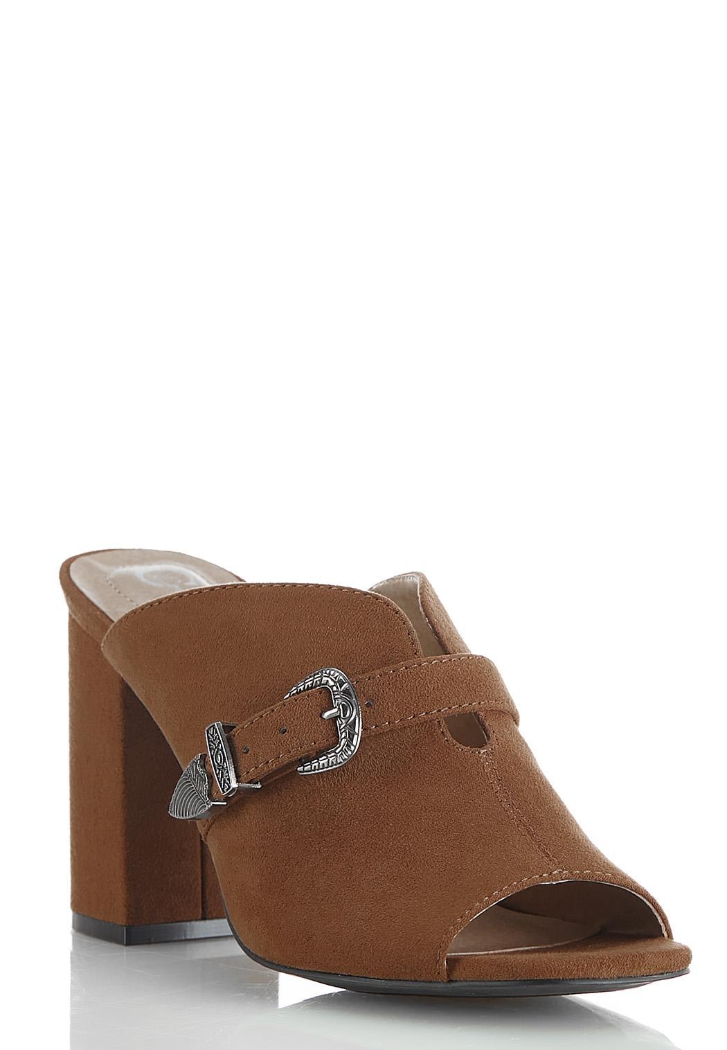 Dip V Buckle Slide Sandals
