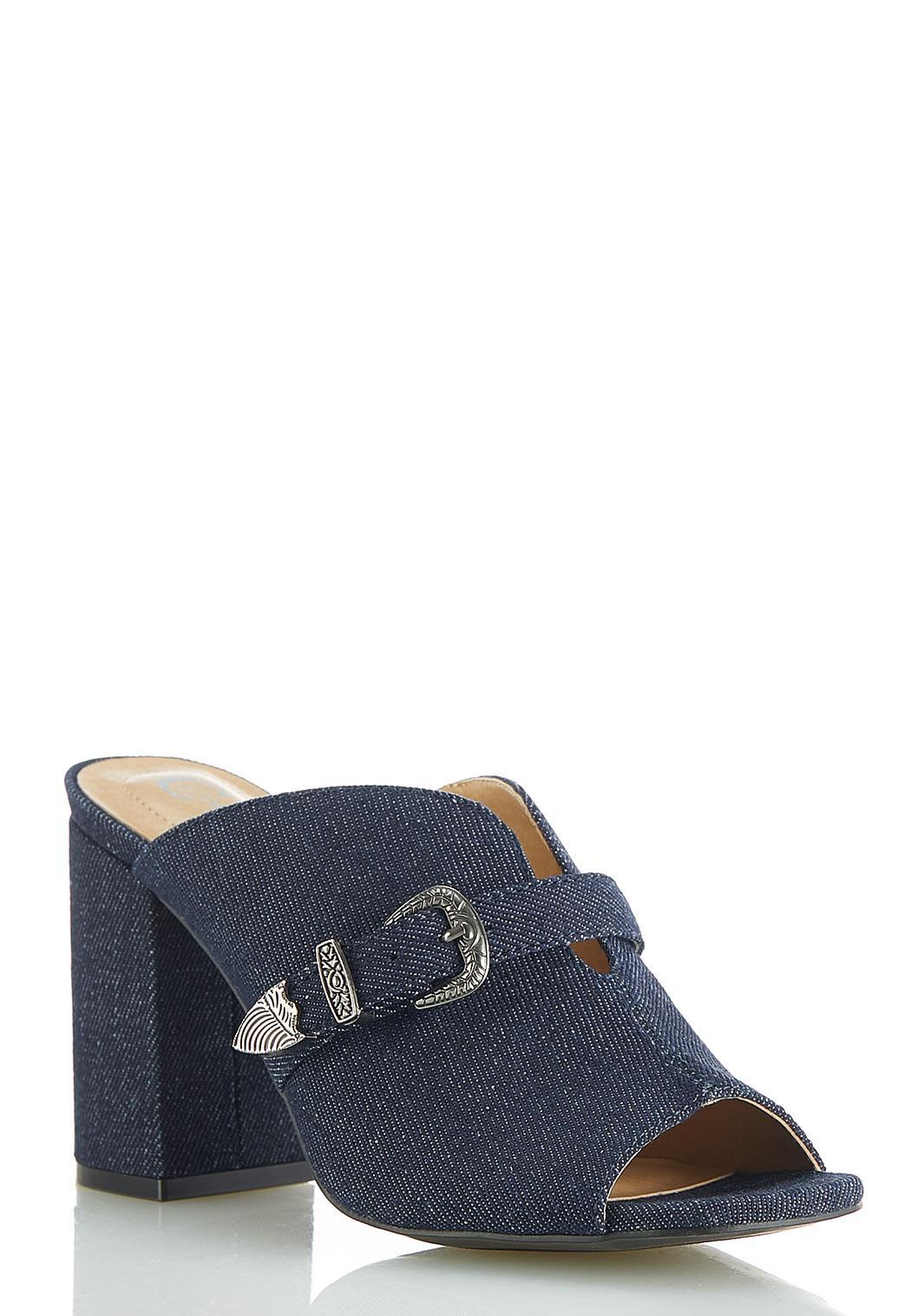 Dip V Denim Buckle Slide Sandals