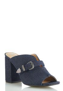 Wide Width Denim Buckle Slide Sandals