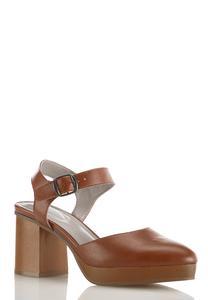 Two Piece Wood Platform Heels