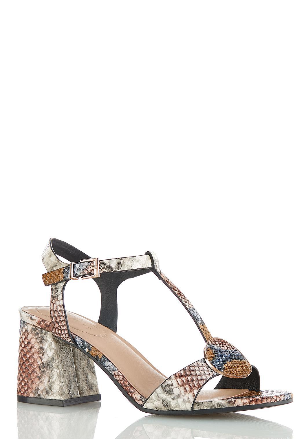 Snakeskin Heeled T-Strap Sandals