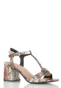 Wide Width Snakeskin Heeled T-Strap Sandals
