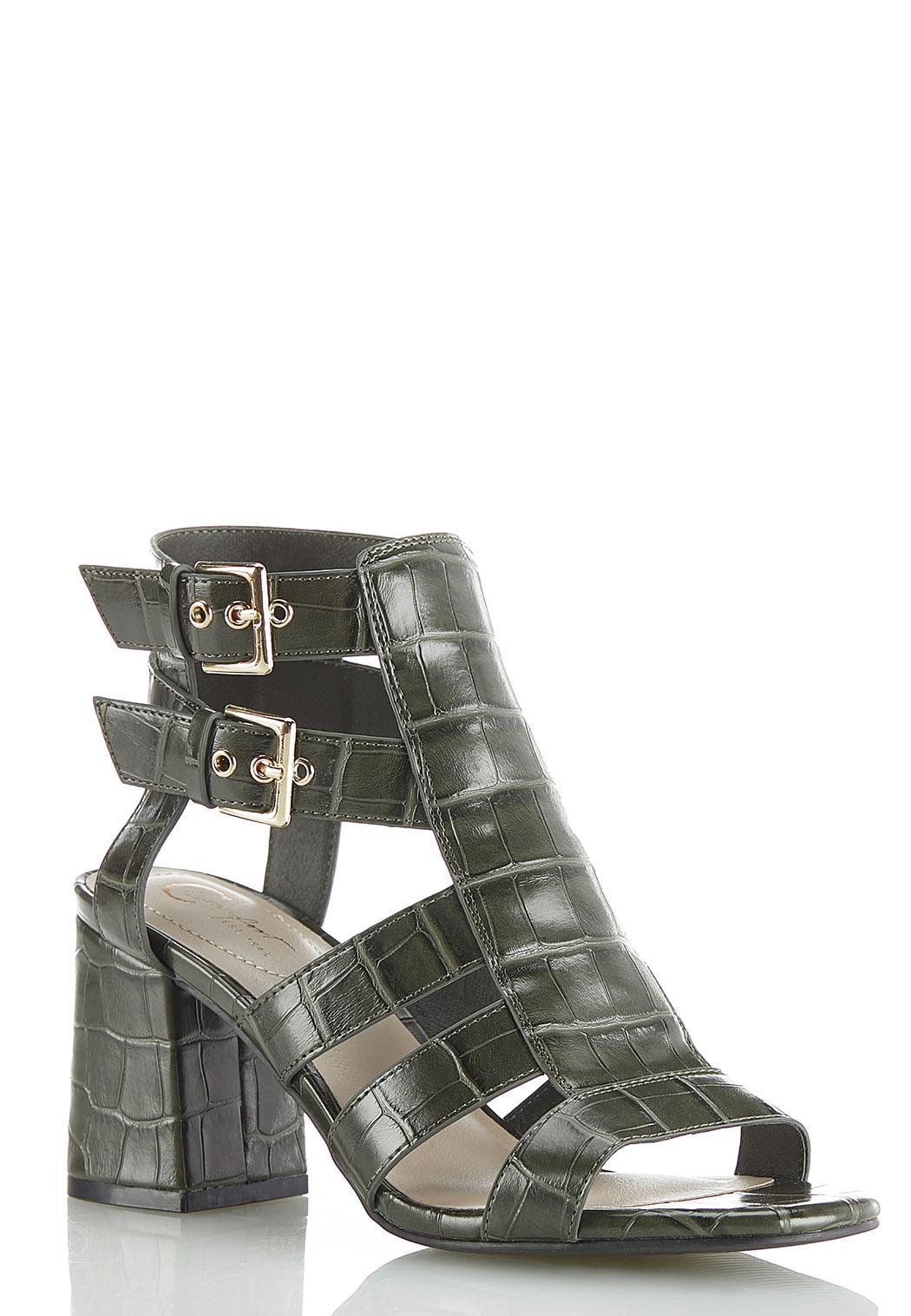 Wide Width Croc Double Buckle Heeled Sandals