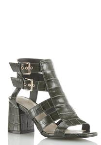 Wide Width Croc Double Buckle Heeled Sandals