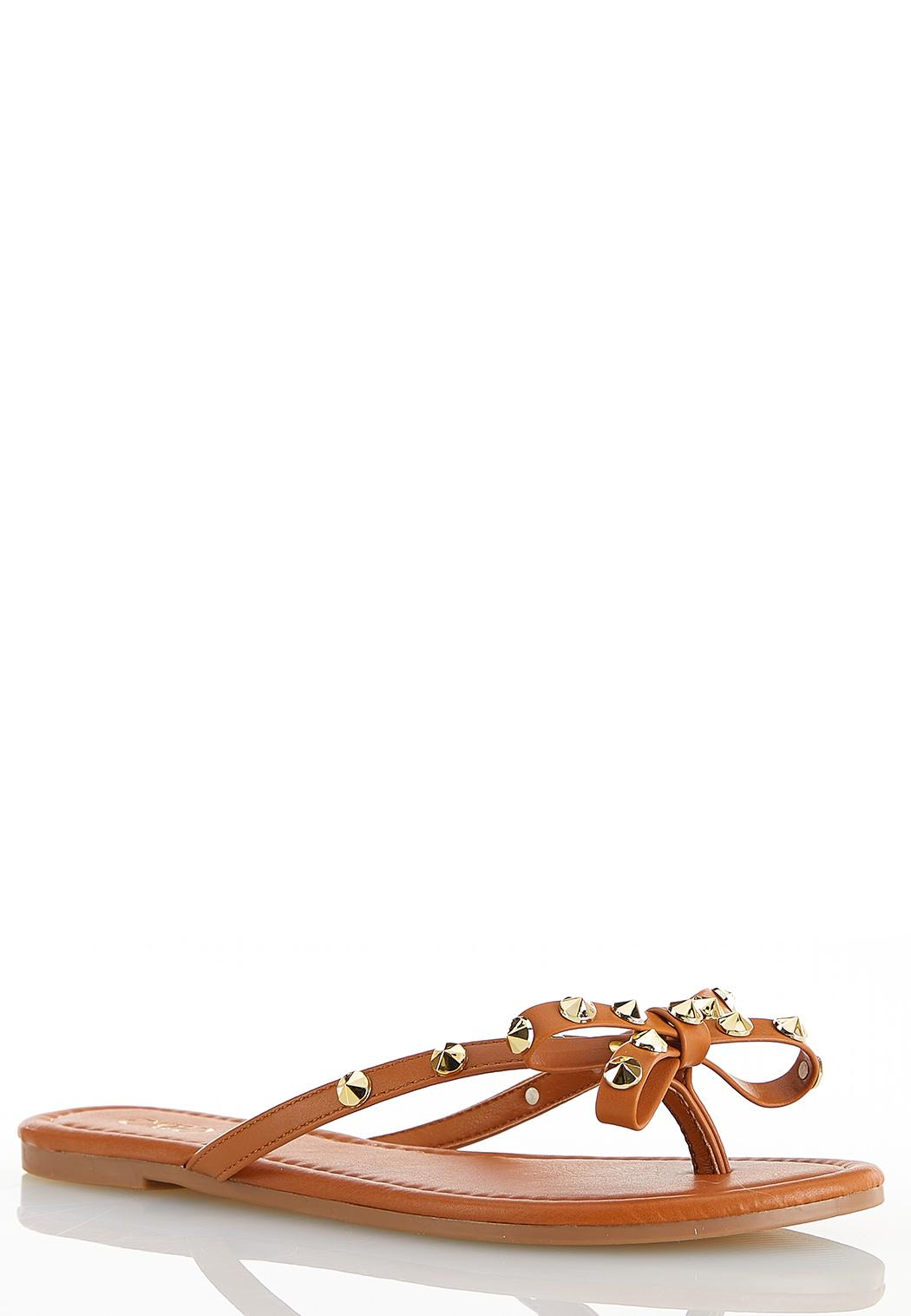 Stud Bow Thong Sandals