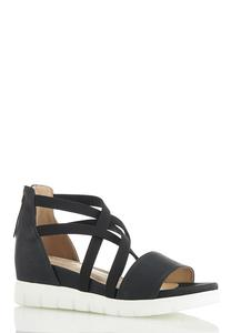 Stretch Crossband Wedge Sandals