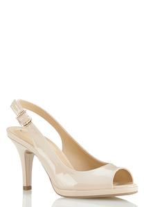 Open Toe Patent Slingback Pumps