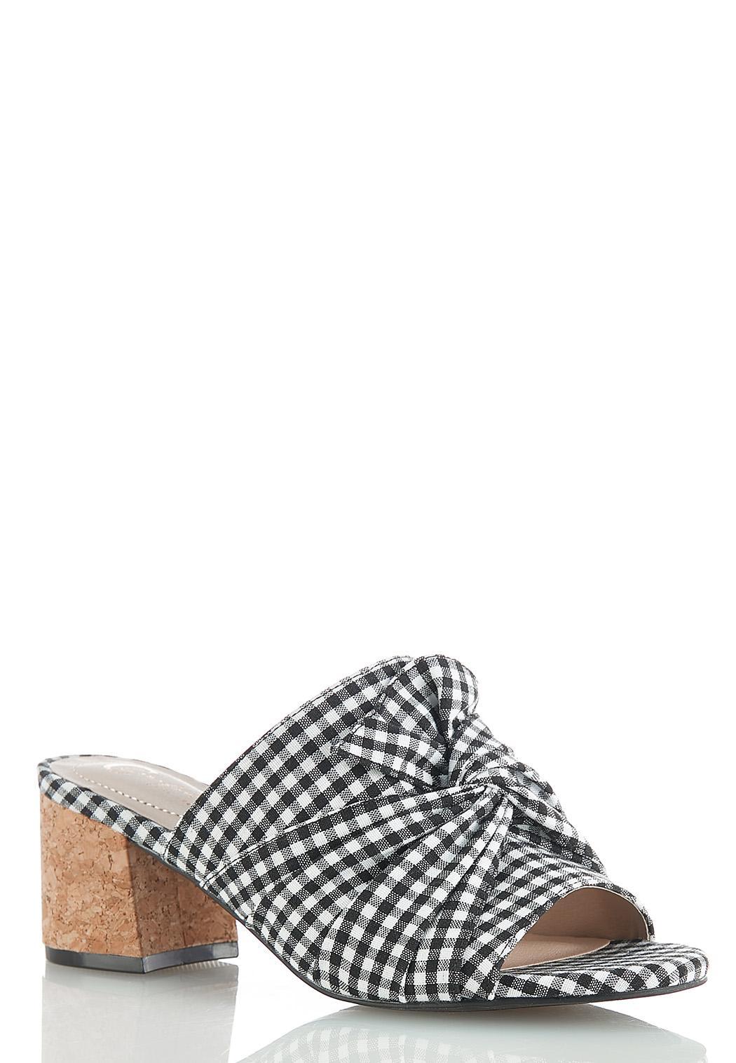 Gingham Heeled Slide Sandals