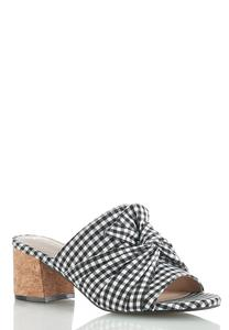 Gingham Heeled Slide Sandals