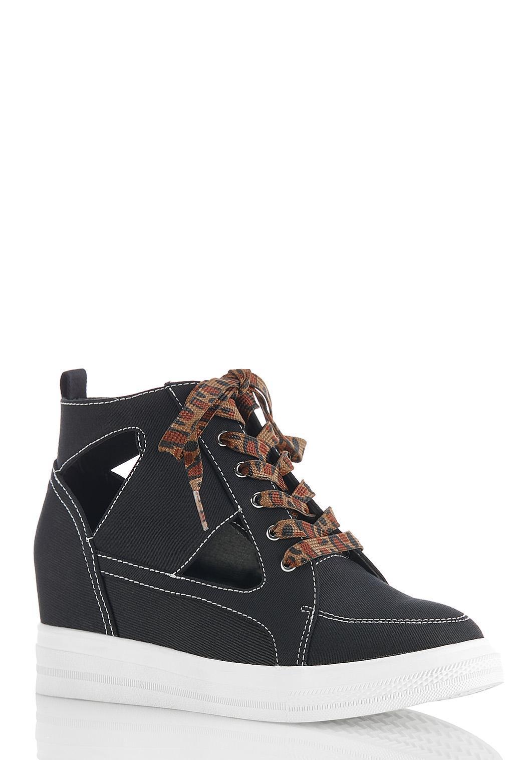 Cutout Wedge Sneakers
