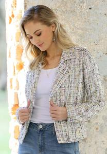 Plus Size Tweed Moto Jacket