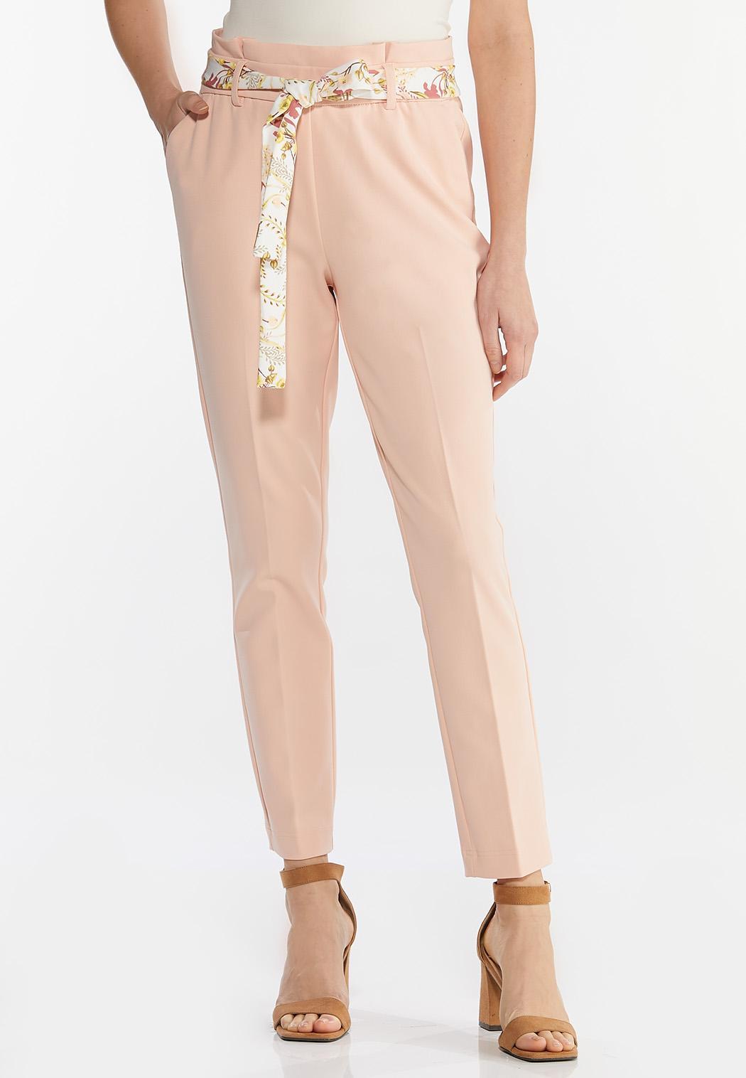 Petite Floral Belted Slim Pants