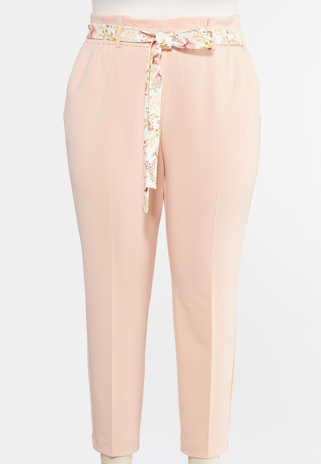 Plus Size Floral Belted Slim Pants