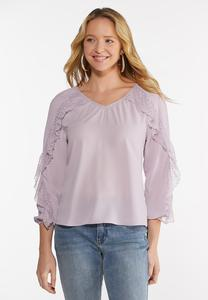 Lavender Ruffled Sleeve Top
