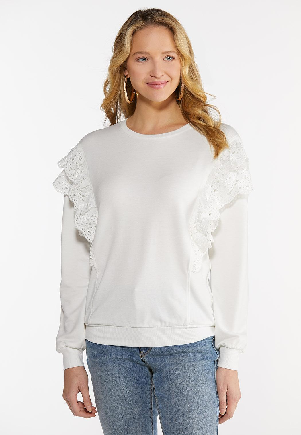 Eyelet Lace Trim Sweatshirt